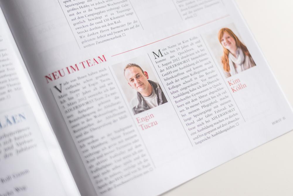Portraits in der Mitgliederzeitung von Adlershorst